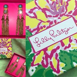 NWT Lilly Pulitzer Razzle Tassel Tassel Earrings